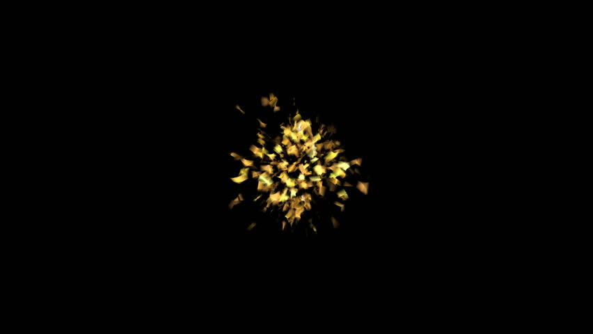 Golden popper explosions confetti on a black isolated background