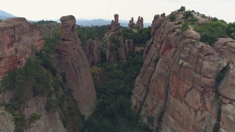 Most Popular Rock Formation ,New 7 wonder of the world ,aerial fly over Belogradchik -Bulgaria