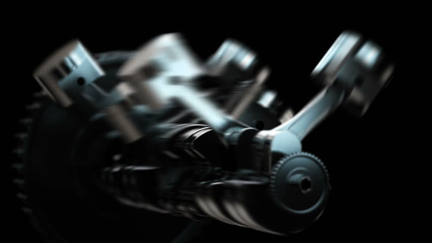 V8 motor with working pistons and crankshafts inside camera fly through | Shutterstock HD Video #1014730355