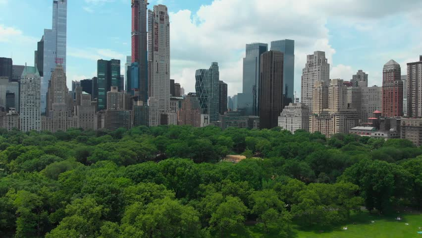 Downtown. Top view of central park in New York city with tall skyscrapers