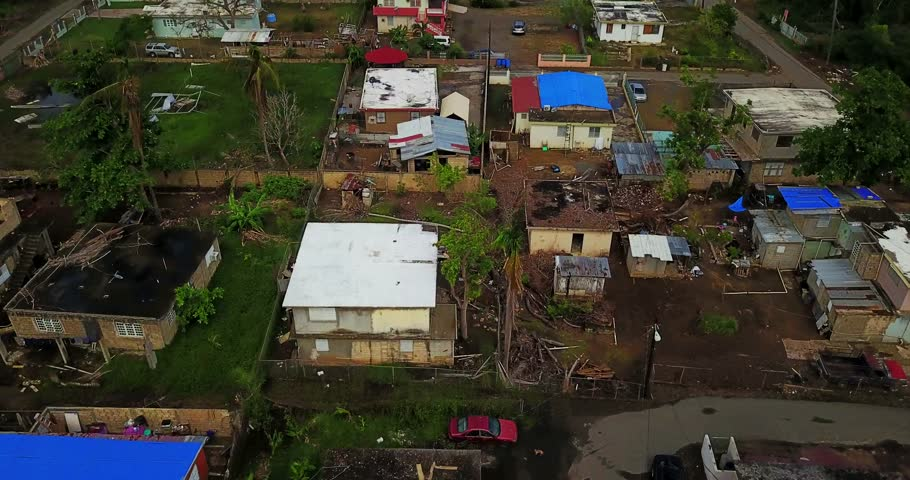 Aerial Street view Hurricane Maria is regarded as being the worst natural disaster on record to affect Dominica and Puerto Rico. Royalty-Free Stock Footage #1014768749