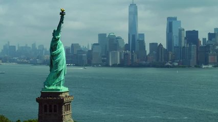 Aerial drone orbit Statue of Liberty New York