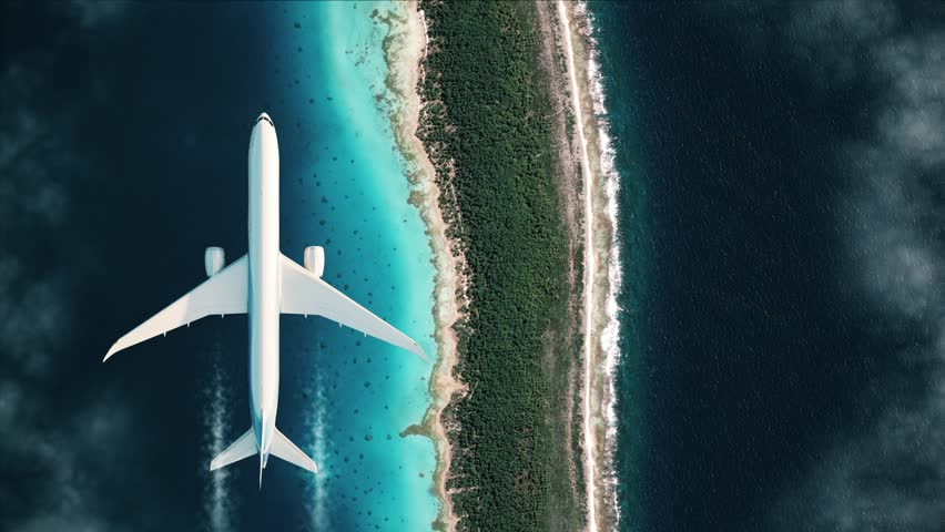 Top view of a flying plane over Tahiti. 4k video as the plane flies over the islands in the ocean.