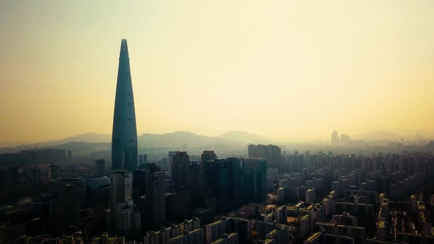 Aerial view of Seoul city skyline, South Korea. Aerial view from drone.   Shutterstock HD Video #1014799604