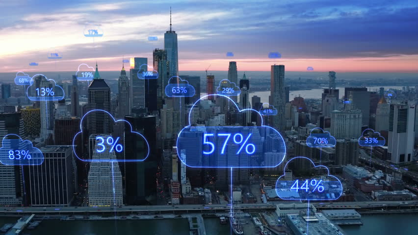 Aerial smart city. Network connections and cloud computing icons with percentages. Technology concept, data communication, artificial intelligence, internet of things. New York City skyline. | Shutterstock HD Video #1014813770