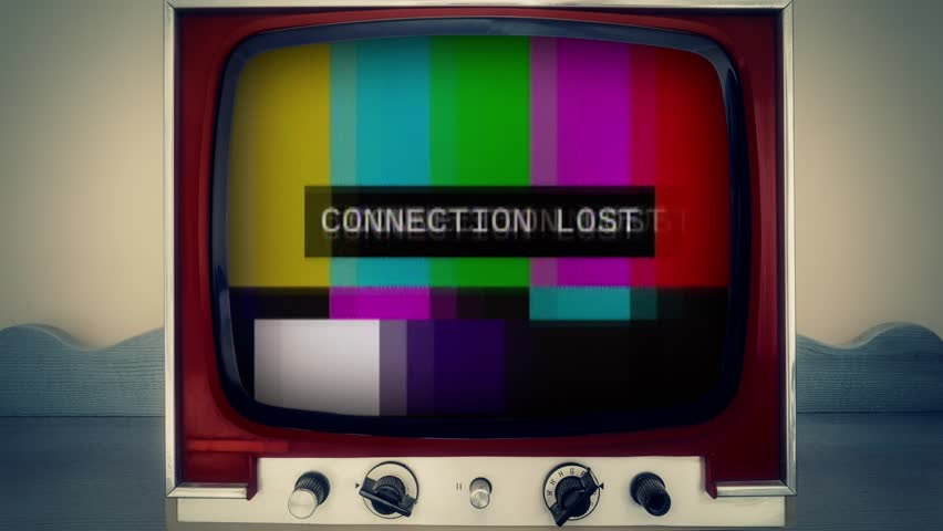 A retro vintage TV showing a noisy signal of SMPTE color bars (a television screen test pattern) with the text Connection Lost. Analog capture, intentional heavy distortion fx.  | Shutterstock HD Video #1014815702