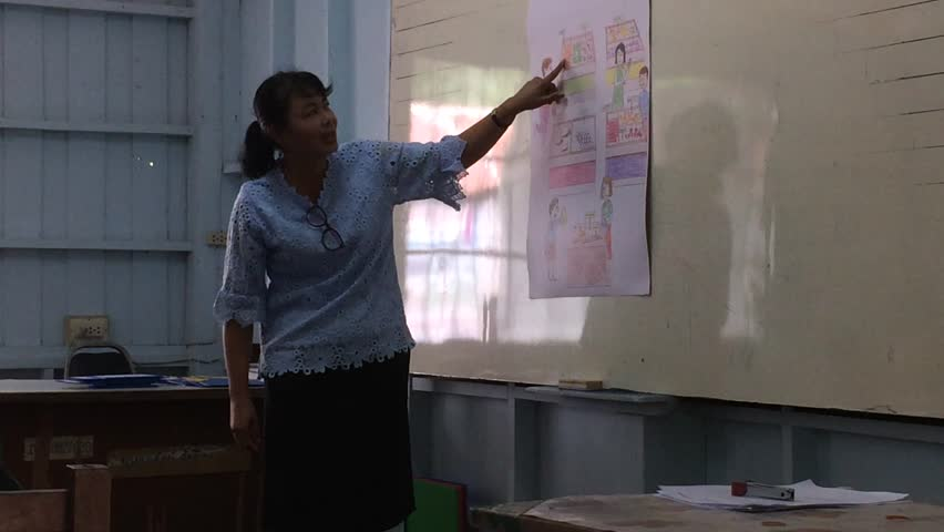 NAKHONRATCHASIMA, THAILAND - AUG 9 : Teacher and students in English classroom play learn read and write at Gratinnongkrueachud school a Local Primary School in Thailand on August 2018. #1014821756
