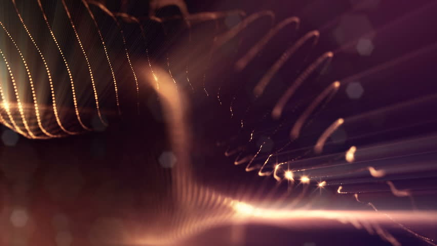 Microcosm or space. Seamless looped footage with beautiful light effects and 3d animation of glow particles with depth of field, bokeh and light rays for abstract background or vj loop. Golden red 11 | Shutterstock HD Video #1014839662
