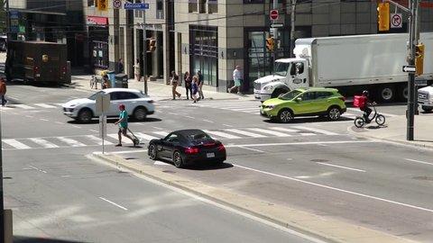 Toronto, Canada - 06 10 2018: Busy Toronto intersection