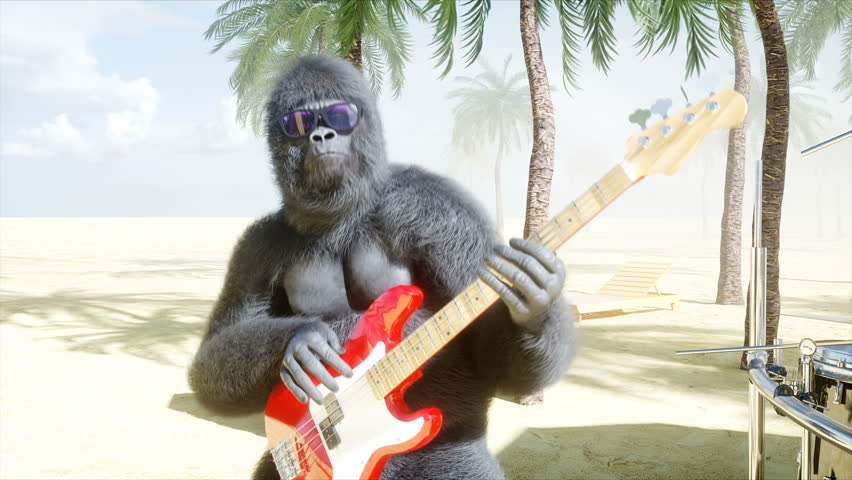 Funny gorillas and monkeys play on guitar and drums. Rock party on sunny seaside. Realistic 4K animation. #1014841363