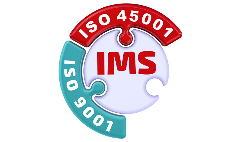 """IMS. ISO Integrated Management System. The check mark in the form of a puzzle. The inscription """"IMS. ISO 9001, ISO 14001, ISO 45001"""" on the emerging puzzle in the shape of a circle. Footage video Royalty-Free Stock Footage #1014862024"""