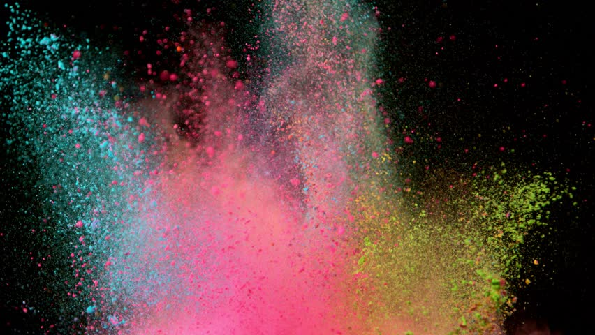Super slowmotion shot of color powder explosions isolated on black background. Shot with high speed cinema camera at 1000fps #1014868777