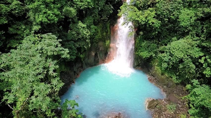 Aerial view of the Rio Celeste, Celestial blue waterfall and Tenorio volcano national park, Costa Rica