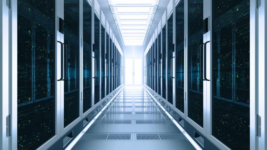 Concept of cloud data service center. Flow moving through rack servers. 3d rendering.