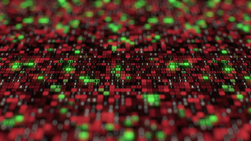 Dolly shot big data stream hacker programming application protection information technology random red green letters and numbers lined up in row futuristic technology abstract seamless loop animation | Shutterstock HD Video #1014902902
