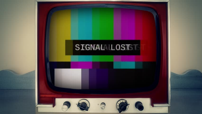 A retro vintage TV showing SMPTE color bars (a television screen test pattern) with the text Signal Lost. Analog capture, intentional heavy distortion fx.  | Shutterstock HD Video #1014918298