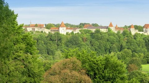 Panoramic view of Burghausen castle at daytime