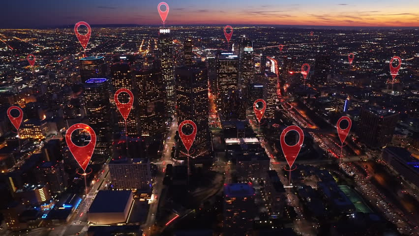 Aerial smart city. Localization icons in a connected futuristic city.   Technology concept, data communication, artificial intelligence, internet of things. Los Angeles skyline. #1014944242