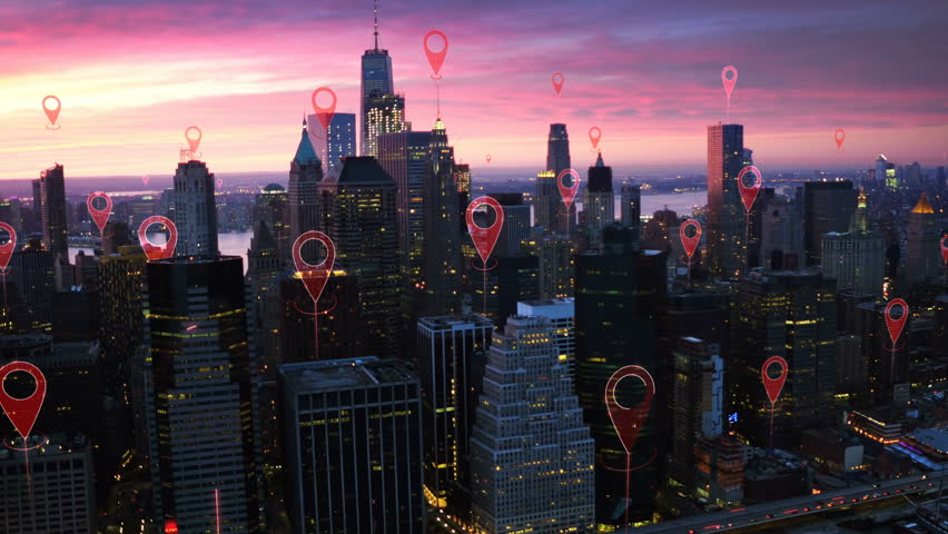 Localization icons in a connected futuristic city.  Technology concept, data communication, artificial intelligence, internet of things. Aerial smart city. New York City skyline. | Shutterstock HD Video #1014944257