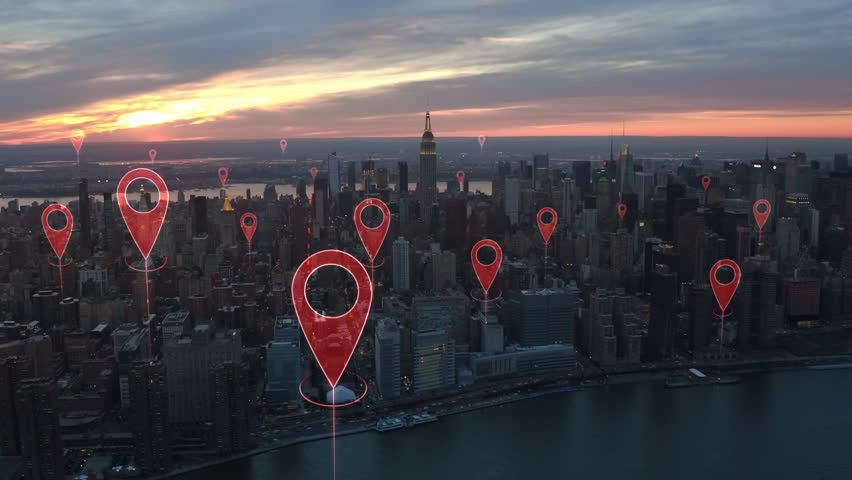 Localization icons in a connected futuristic city.  Technology concept, data communication, artificial intelligence, internet of things. Aerial smart city. New York City skyline. #1014944266