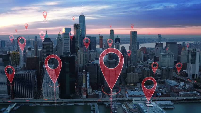 Localization icons in a connected futuristic city.  Technology concept, data communication, artificial intelligence, internet of things. Aerial smart city. New York City skyline. #1014944272