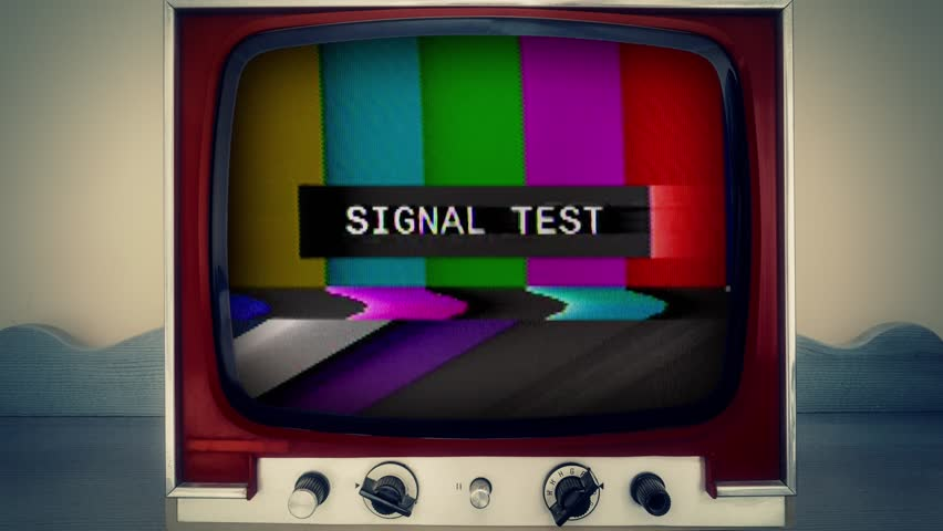 A retro vintage TV showing SMPTE color bars (a television screen pattern) with the text Signal Test. Noisy analog capture, intentional heavy distortion fx.  | Shutterstock HD Video #1014949096