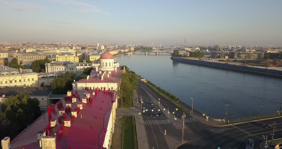 4K aerial sunrise morning video view of of St.-Petersburg's beautiful vintage architecture, Neva River panorama, Vasilyevsky Island spit near Finnish Bay and surroundings of Russia's northern capital | Shutterstock HD Video #1014950593
