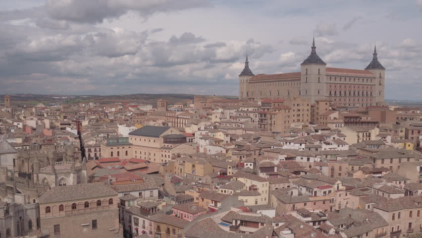 Toledo, Spain - April, 2017: Aerial view of Toledo with Alcazar fortress, Spain.