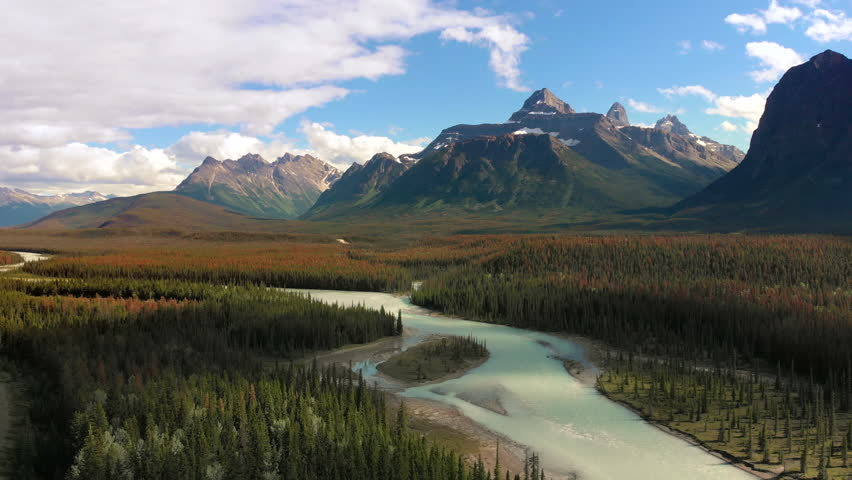 Aerial view of the Canadian Rockies and scenery around Icefields Parkway route between Banff and Jasper National Parks in Alberta, Canada.