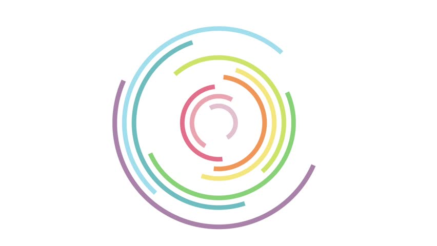 spinning of colorful semi-circle on white background. rainbow and pastel color concept. looping pattern.