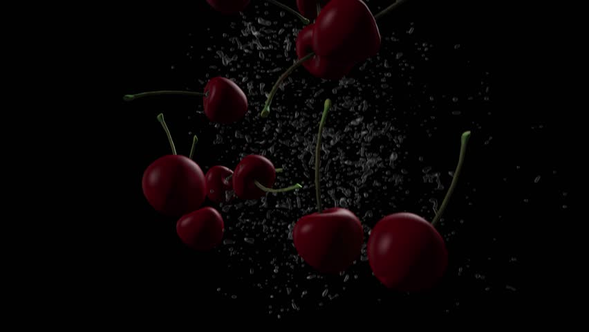 4K - 3D animation of cherries falling on black with splash as background in slow motion. | Shutterstock HD Video #1014989437