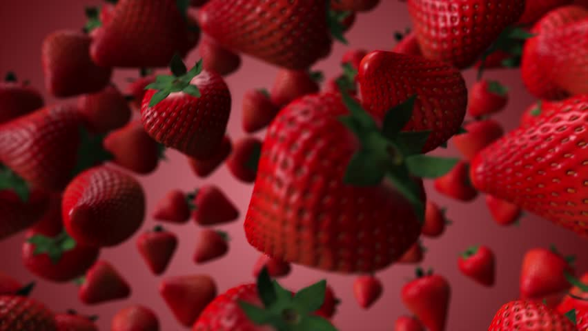 4K - Looped animation of spinning 3D strawberries on red gradient background. | Shutterstock HD Video #1014989443