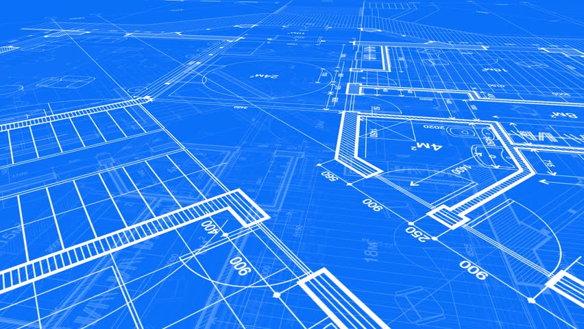 Blueprint - architectural design: the plan of a modern building / seamless looping