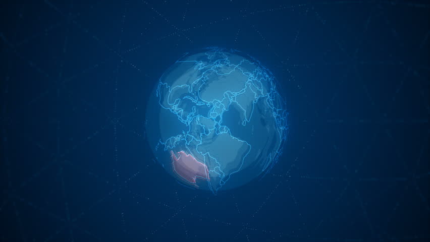 Motion animation Earth rotating around its axis with detailed map of the Australia. You can use this footage in conferences and projects, games, presentations, business promos, and much more. #1015034164