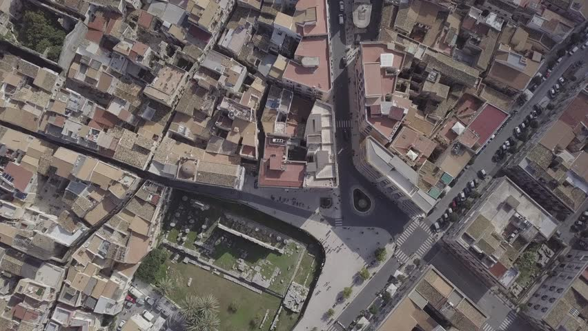 The Italian Town of Syracuse the Island of Ortigia in Sicily (4K Droe Aerial Native Footage) | Shutterstock HD Video #1015037449