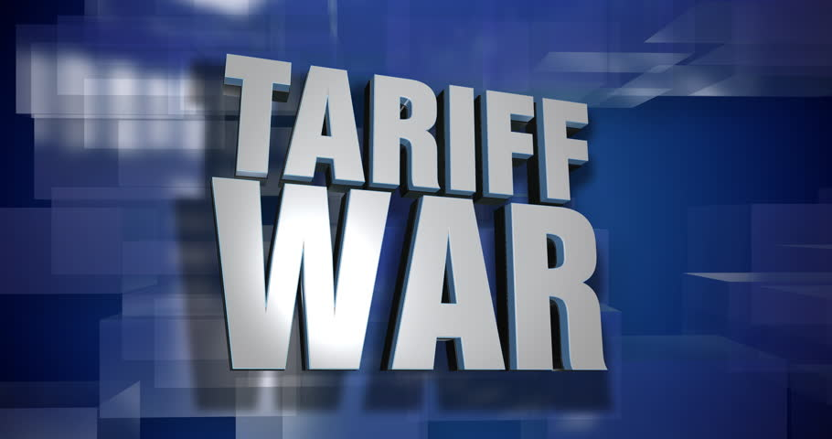 A blue dynamic 3D Tariff War transition and title page animation. 5 and 2 second options included with optional luma matte for both.  | Shutterstock HD Video #1015037524