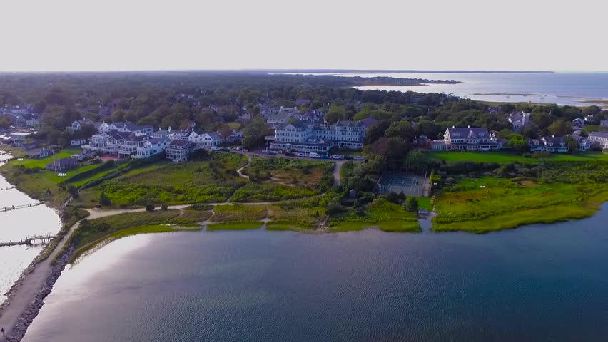 Aerial shot of Harbor-View Hotel in Edgartown, Martha's Vineyard, Massachusetts