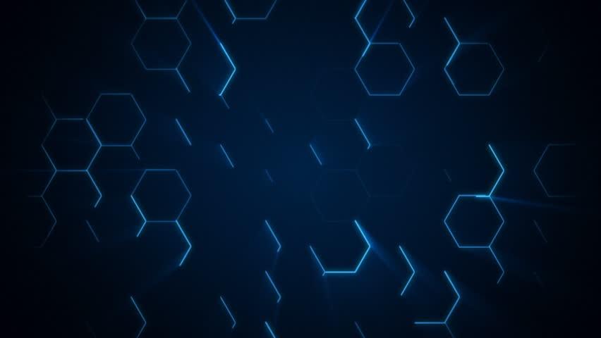 4K Futuristic hexagonal surface. Neon blue light hexagon pattern. Abstract motion background.