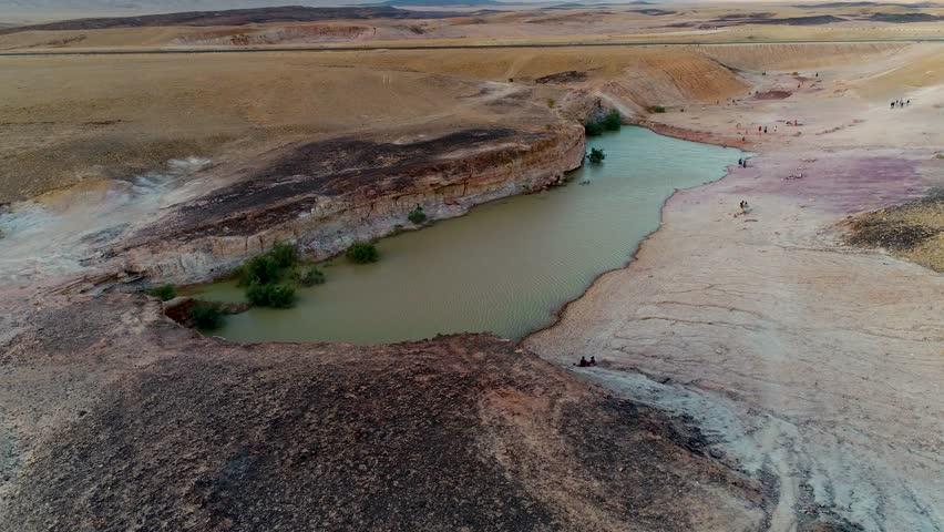 Oasis at the desert Mitzpe Ramon Israel.    Shutterstock HD Video #1015051102