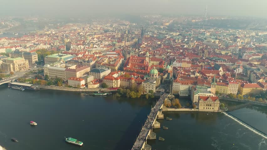 Aerial panorama of the city of Prague. The streets of old Prague. | Shutterstock HD Video #1015057447