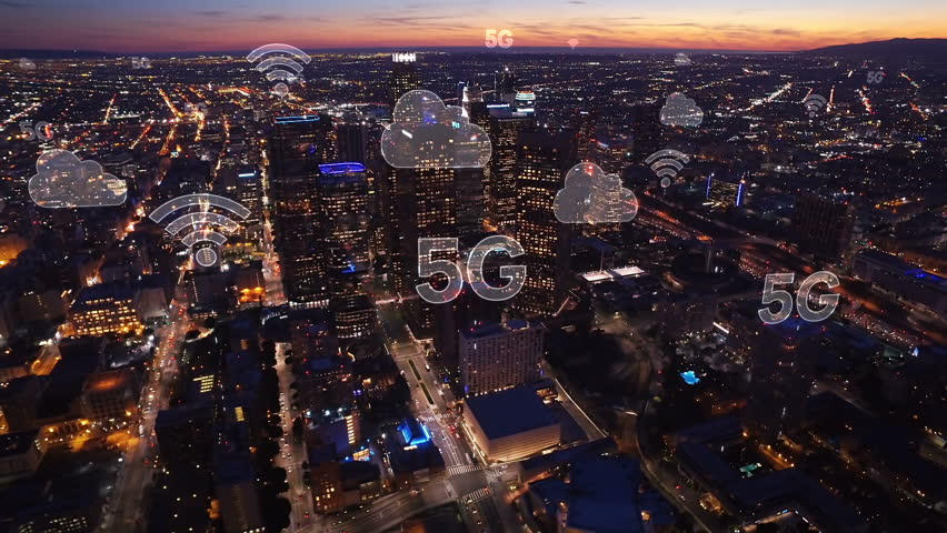 Aerial city connected through 5G. Wireless network, mobile technology concept, data communication, cloud computer, artificial intelligence, internet of things. Los Angeles skyline. Futuristic city. Royalty-Free Stock Footage #1015058200