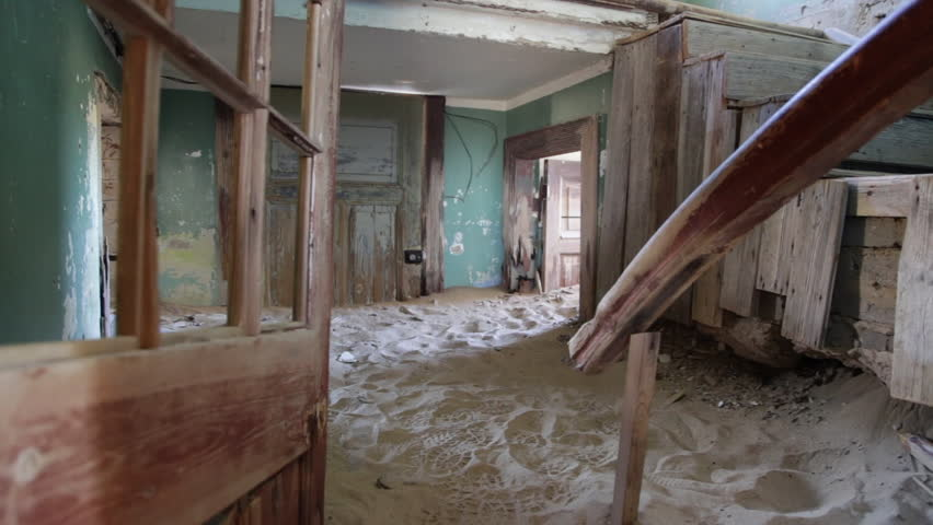 The ghost town of Kolmanskop in Namibia's desert Royalty-Free Stock Footage #1015094407