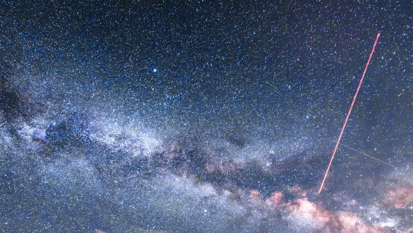 Perseid Meteor Shower Milky Way Time Lapse video. Beautiful astronomy timelapse of twinkling stars and planets. Stars rotate over Earth. Star Time Lapse, Milky Way Galaxy Moving Across the Night Sky.