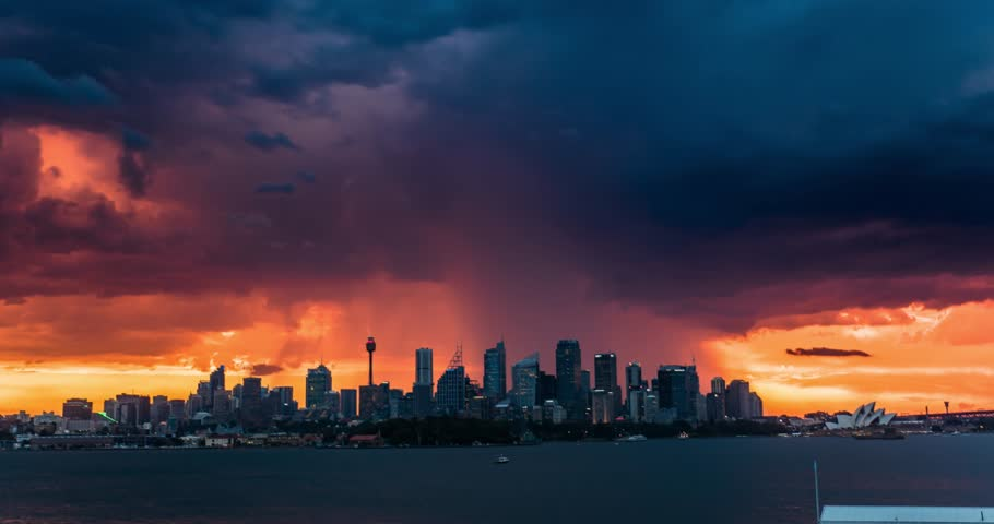 Lightning Storm Over City Skyline 4K Timelapse.
