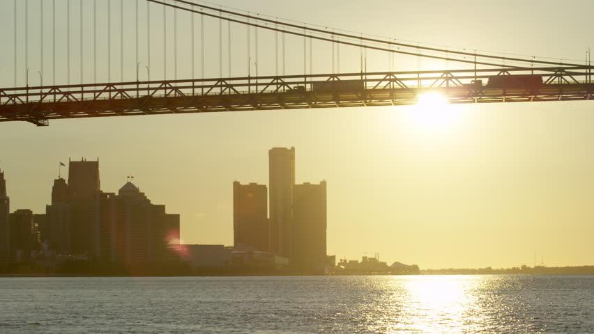 Detroit Sunrise Trucks Crossing Bridge Medium Pan