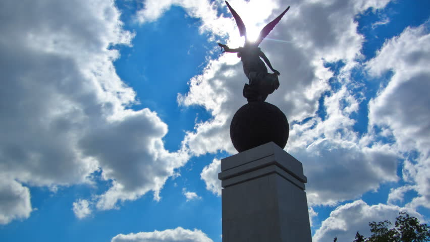 Monument of Independence timelapse. Nika the goddess on a ball on a background of the sky and buildings. City center. Kharkiv, Ukraine | Shutterstock HD Video #1015140187