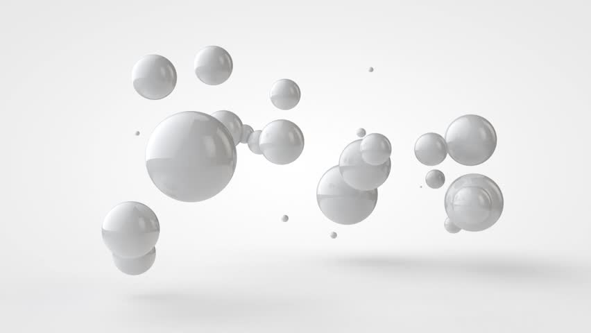3D animation of flying and connecting white balls.
