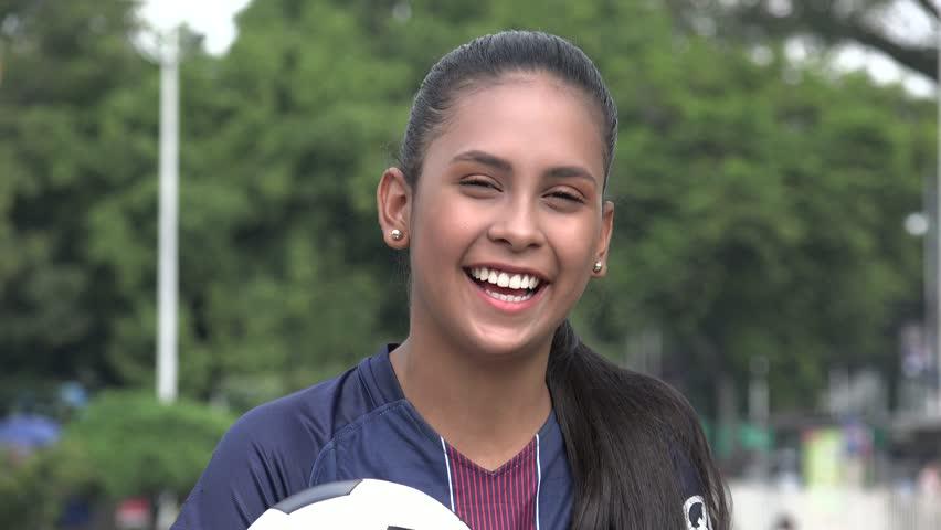 Hispanic Teen Girl Soccer Athlete Laughing | Shutterstock HD Video #1015195492