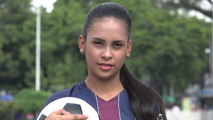 Serious Hispanic Teen Girl Soccer Athlete | Shutterstock HD Video #1015195495