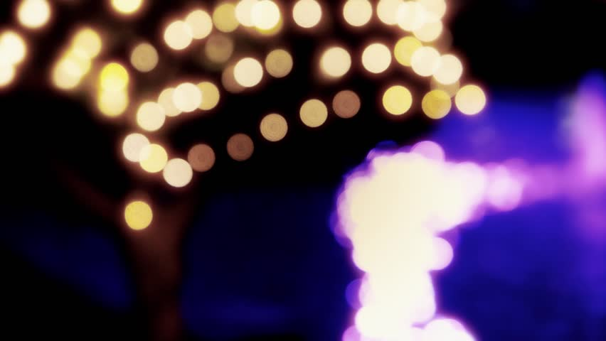 Holiday decorations with lights, glare, bokeh. Fest, celebration design, landscaping | Shutterstock HD Video #1015196614